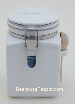 White Square Canister W Spoon 16 Oz